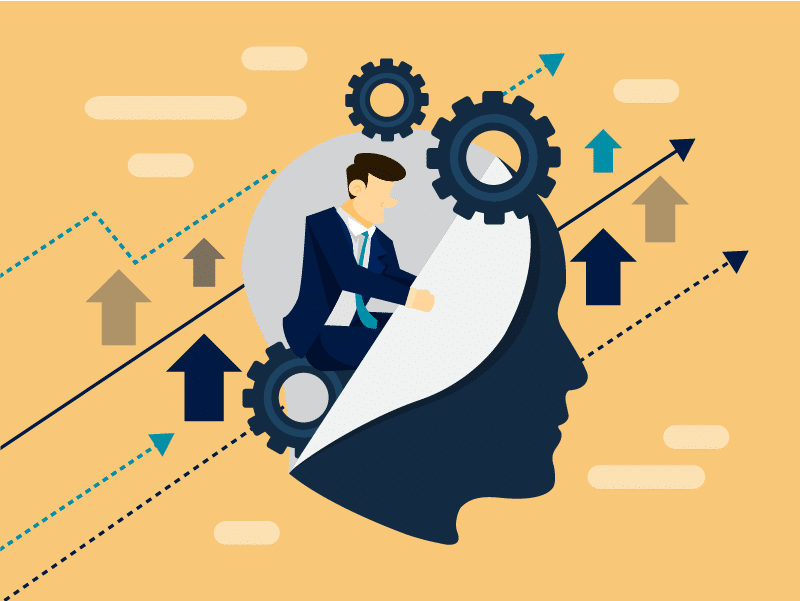 A man and gears inside someone's head representing Business Intelligence