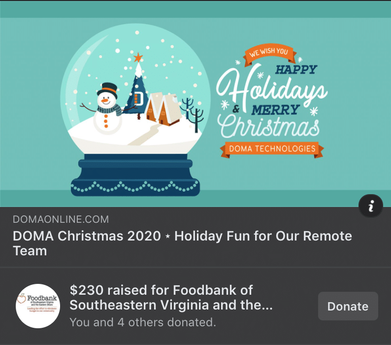 DOMA Christmas- Holiday Fun for Our Remote Team. $230 raised for Foodbank of Southeastern VA